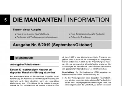 Mandantenbrief 5-2019