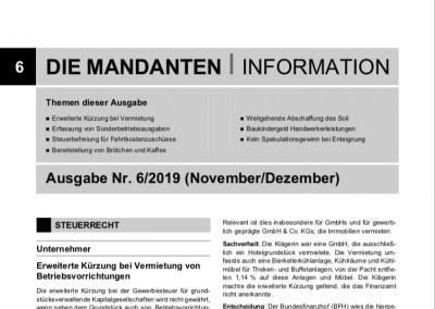 Mandantenbrief 6-2019